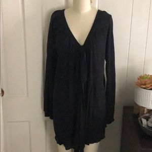 Free People Tops - Free people black knit tunic dress tie front